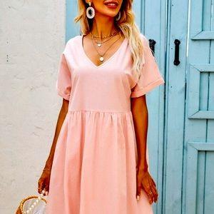 NEW! Solid v-neck mock dress in pink size L